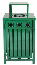 Witt Square gated receptacle with flat top and plastic liner, green M36-SQ-GFT-BK