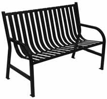 Witt Slatted metal bench, black M5-BCH-BK