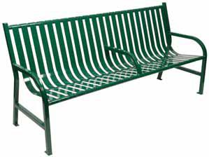 Witt Slatted metal bench with arm, black M6-BCH-ARM-BK